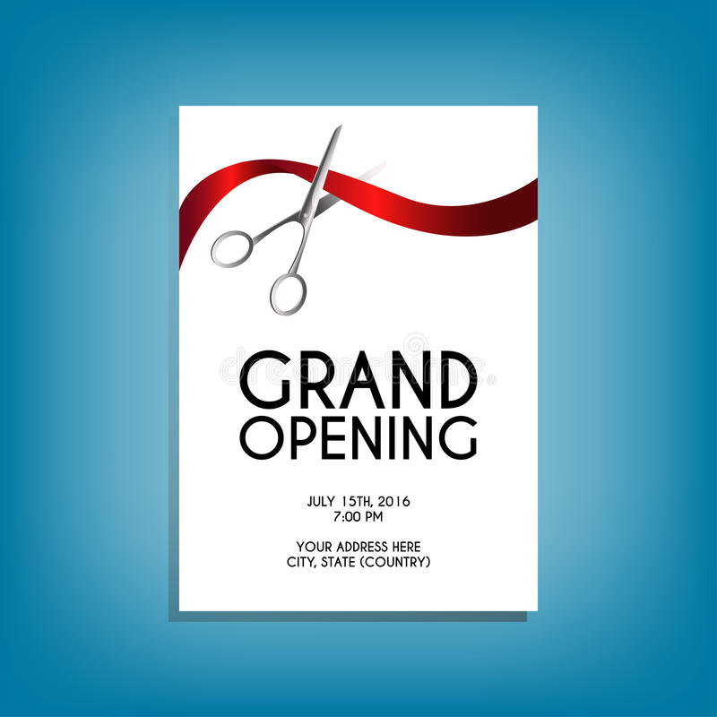 Grand Opening Flyer MockUp With Silver Scissors Cutting Red Ribbon