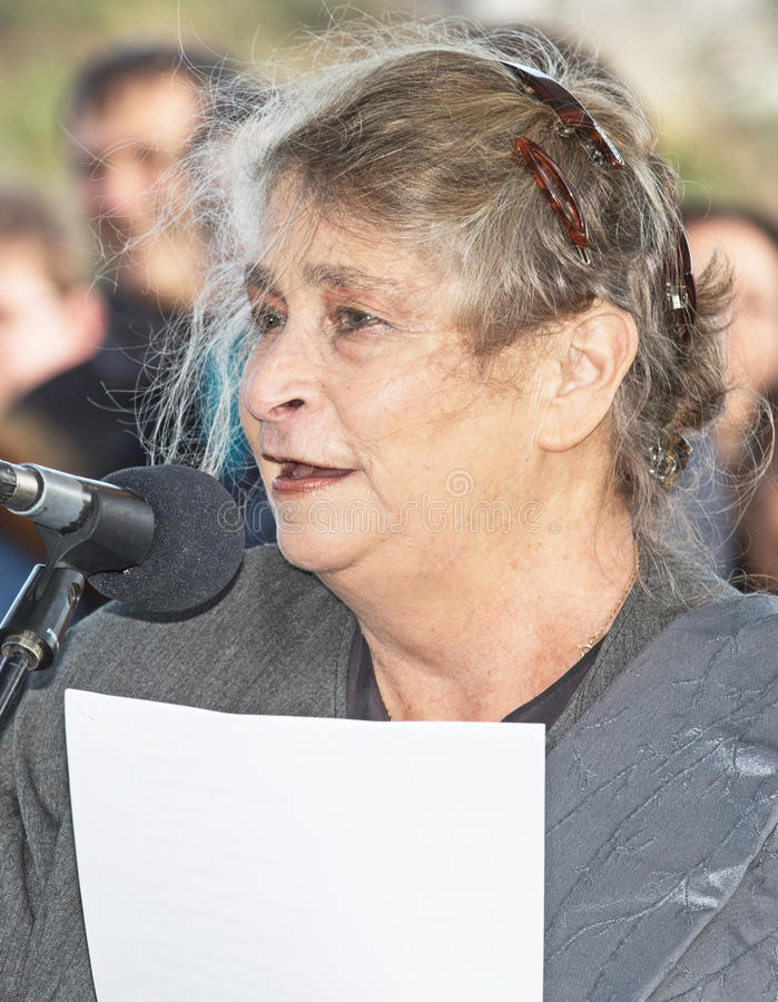 Grand Opening of Gazelle Valley Park in Jerusalem. The first lady of Israel, Nechama Rivlin, wife of President Reuven Rivlin, gives an address at the the grand royalty free stock photo