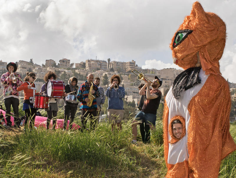 Grand Opening of Gazelle Valley Park in Jerusalem. Musicians and colorful mascots enliven the festivities of the grand opening events of the Gazelle Valley Park royalty free stock image