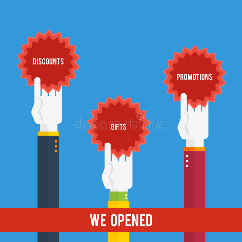 Grand opening - hands holding stickers. With text vector illustration