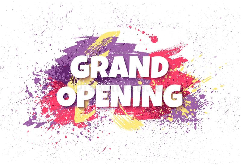 Grand opening horizontal banner with colorful paint splatters. V stock illustration