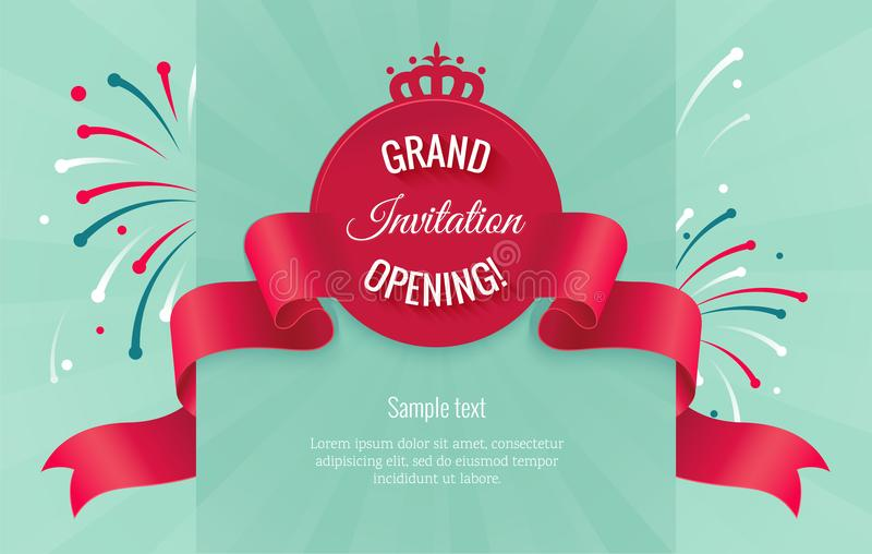 Grand opening horizontal banner with curving ribbon stock illustration