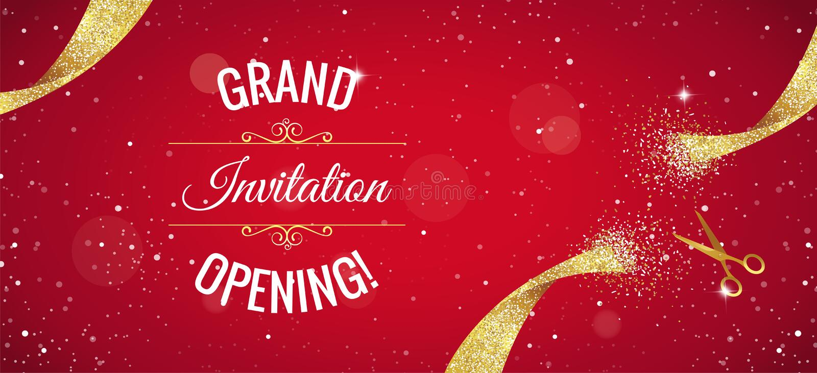 Grand opening horizontal banner with gold sparkles. Grand opening horizontal banner. Text with confetti, golden splashes and ribbons.Gold sparkles. Elegant