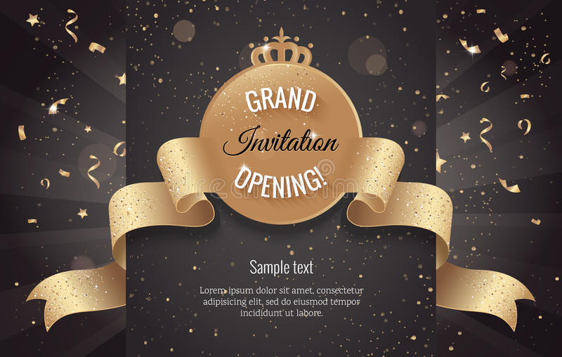 Grand opening horizontal banner. Text with confetti and curving stock illustration