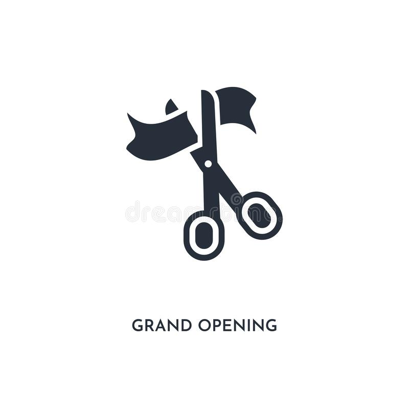 Grand opening icon. simple element illustration. isolated trendy filled grand opening icon on white background. can be used for stock illustration