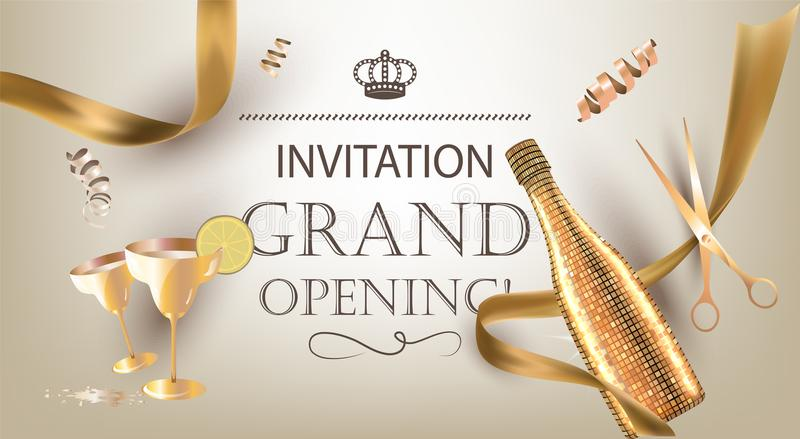 Grand opening invitation banner with golden objects. stock illustration