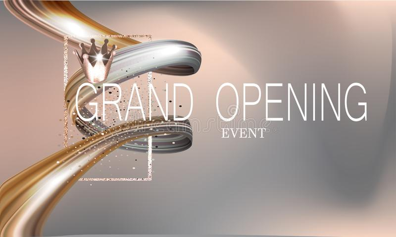 Grand opening invitation beige card with ribbon and and gold design elements. vector illustration