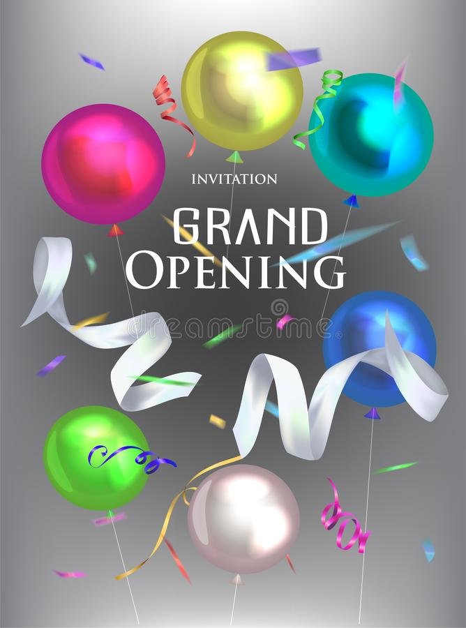 Grand opening invitation card with levitation ribbons, confetti and air balloons royalty free illustration