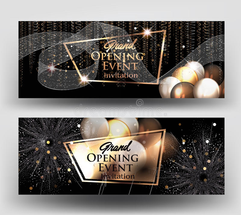 Grand opening invitation cards with air balloons and gold serpentine and fireworks. royalty free illustration