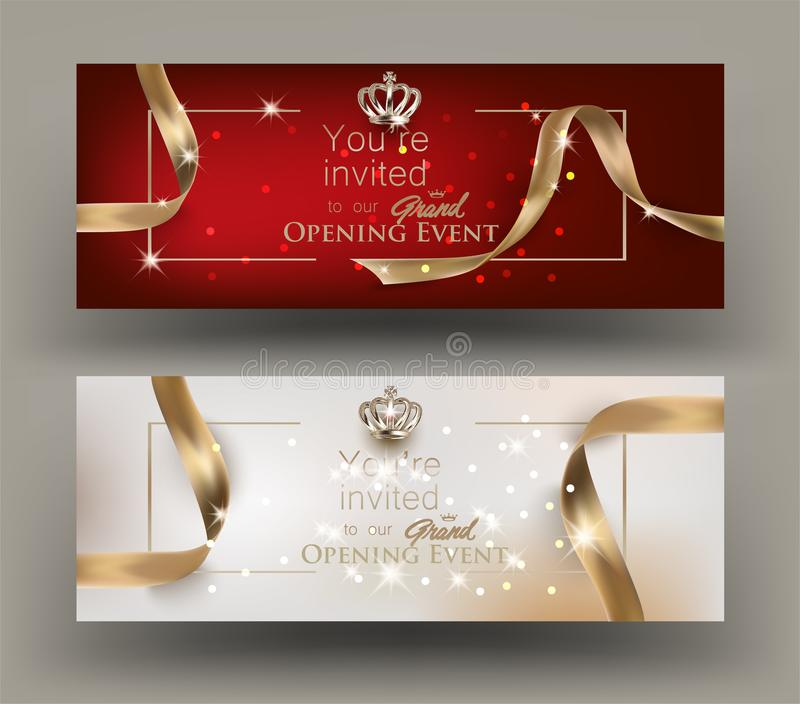 Grand opening invitation cards with gold frame and ribbons. stock illustration