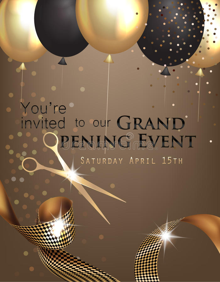 Grand opening invitation with curly ribbon, scissors and gold and black air balloons. vector illustration