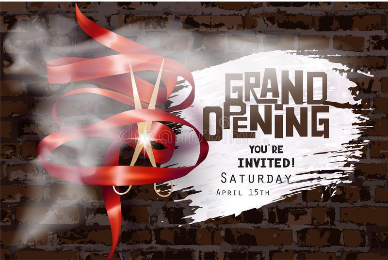 Grand opening invitation with curly ribbon, scissors , whihe smoke and brick wall on the background. royalty free illustration
