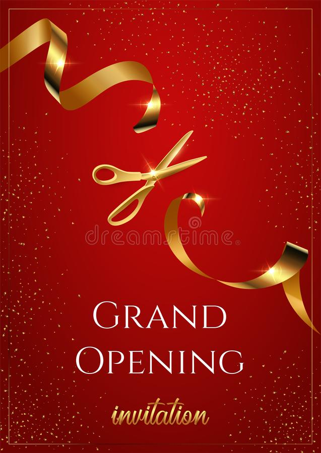 Grand opening invitation red vertical vector banner. Shiny scissors cutting golden ribbon vector illustration