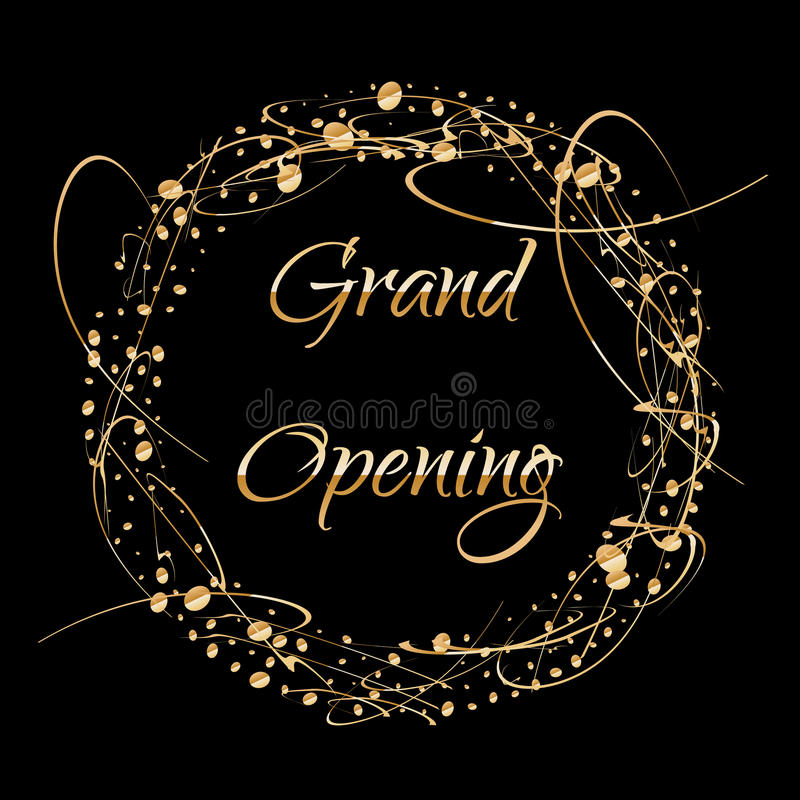 Grand opening lettering. Sparkling banner with gold sparkles. Text composition with golden paint dots splashes.. Elegant royalty free illustration