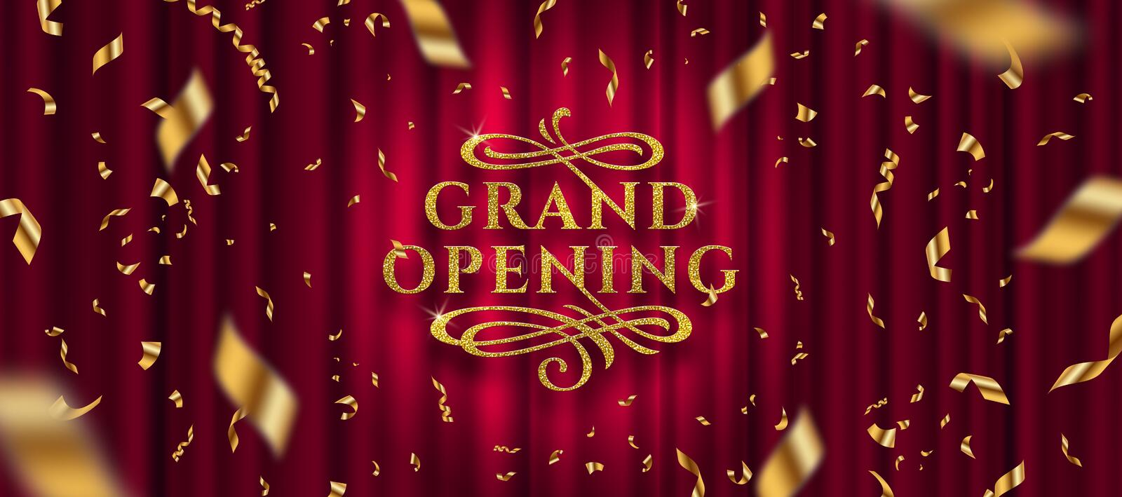 Grand opening logo. Golden foil confetti and glitter gold logo with flourishes ornamental elements on a red curtain background. Vector illustration royalty free illustration