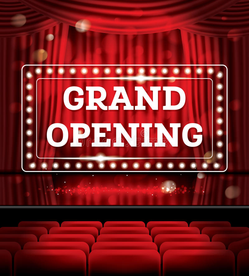 Grand Opening. Open Red Curtains with Neon Lights. Vector Illustration. Theater, Opera or Cinema Scene stock illustration