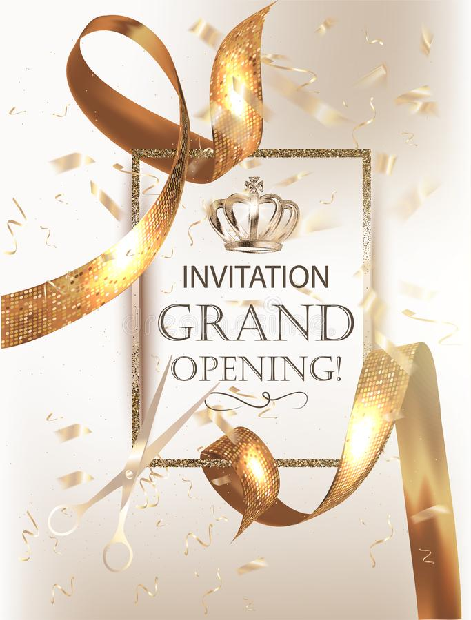 Grand Opening party banner with elegand beautiful ribbons and confetti. stock illustration