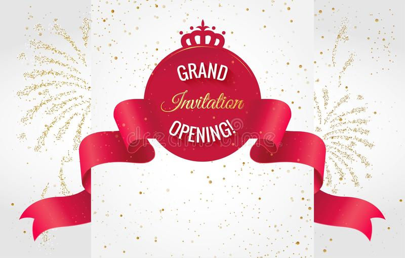 Grand opening sparkling banner. Vector royalty free illustration