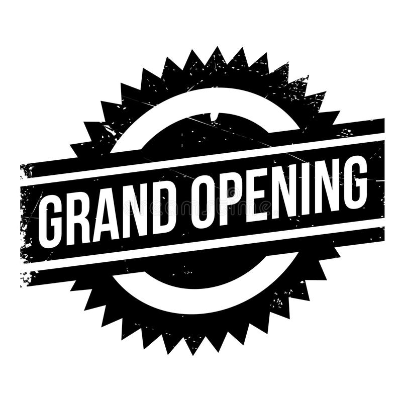 Grand opening stamp. Grunge design with dust scratches. Effects can be easily removed for a clean, crisp look. Color is easily changed stock illustration