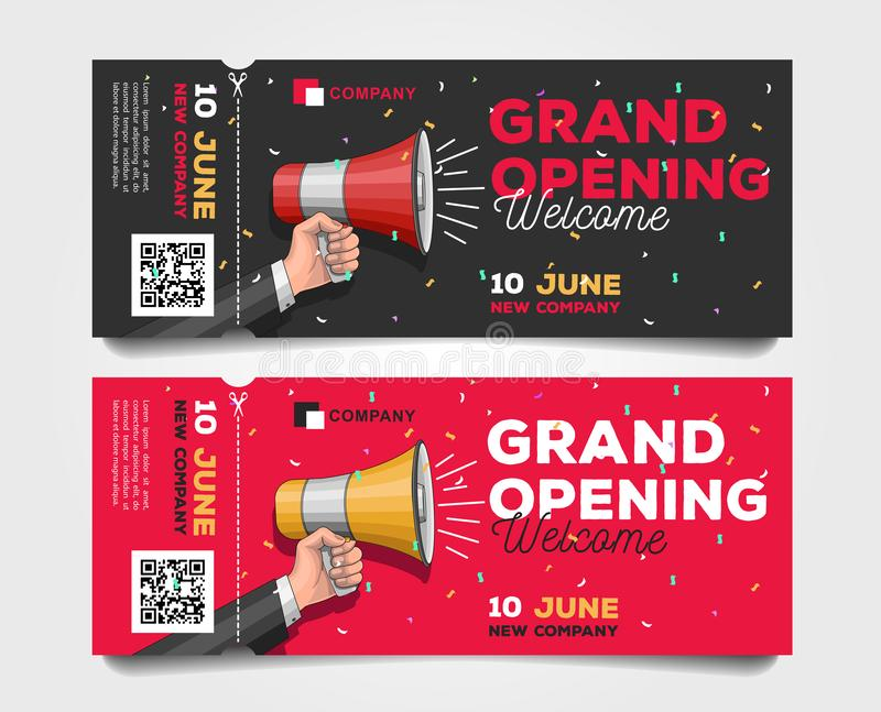 Grand Opening tear-off flyer templates with megaphone illustration and discounts royalty free illustration