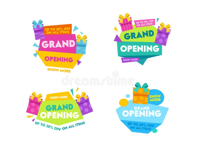 Grand Opening Templates Collection Design for Promo Posters, Advertising Banners, Ad Flyers. Labels and Badges Set. With Colorful Typography, Cartoon Gift Boxes royalty free illustration