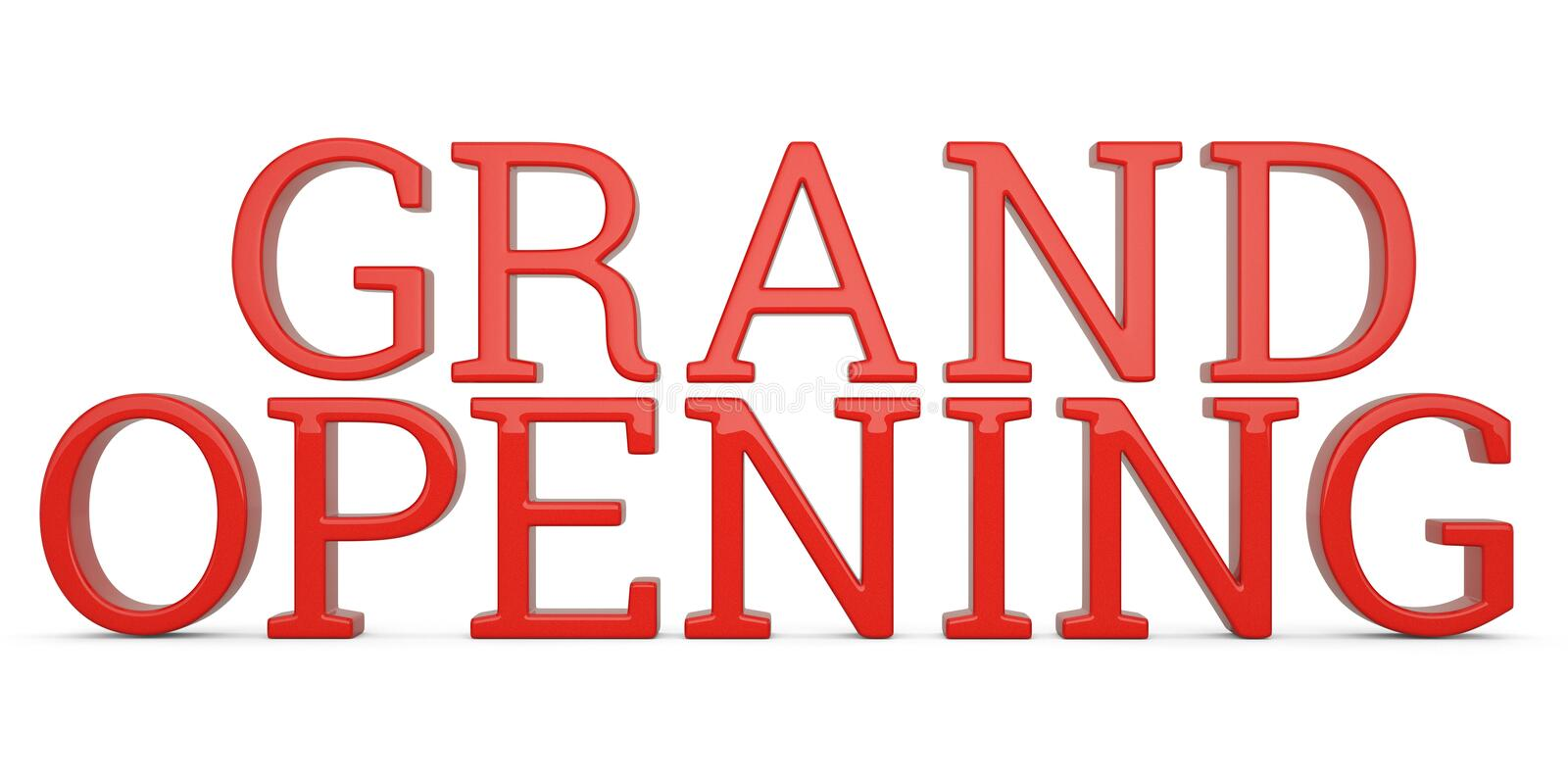 Grand opening text isolated on white background 3D illustration stock illustration