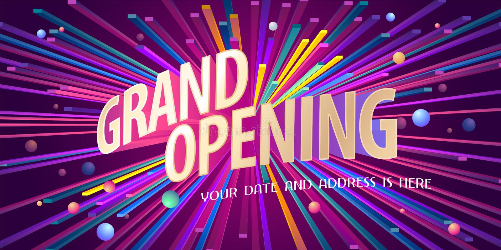 Grand opening vector background, banner. Grand opening vector background. Ribbon cutting ceremony design element as poster or advertising for opening event royalty free illustration