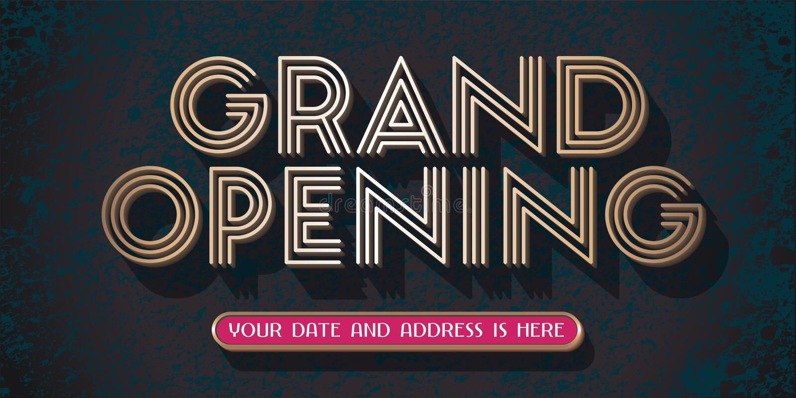 Grand opening vector banner, illustration. Template design element with golden sign for new store opening ceremony stock illustration