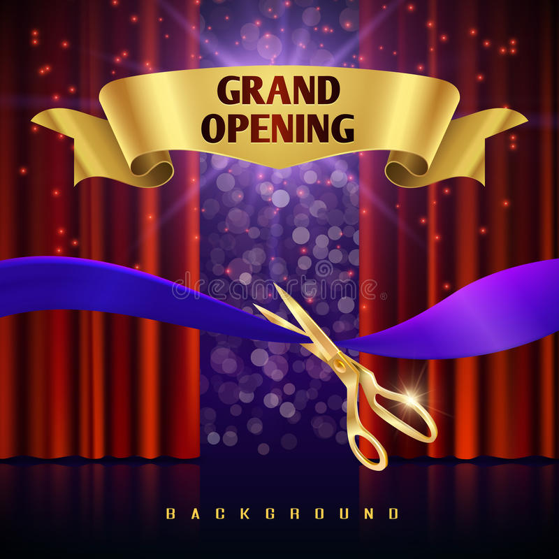 Grand opening vector concept with red curtains stock illustration