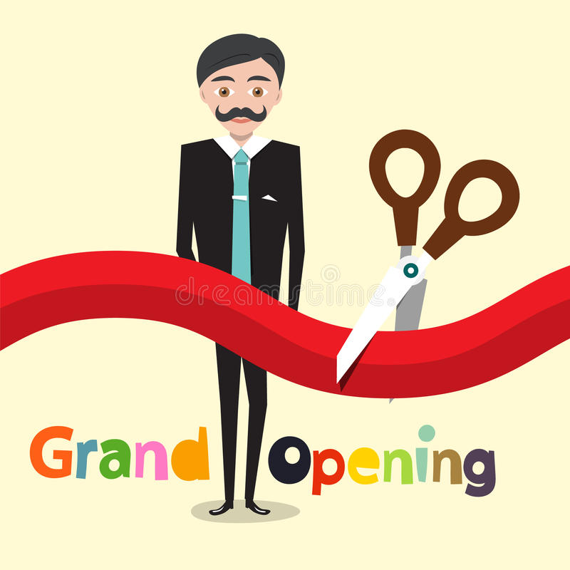 Download Grand Opening. Vector Flat Design Cartoon Stock Illustration - Illustration of beginning, inaugural: 85840064