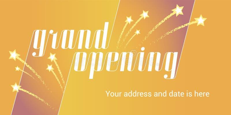 Grand opening vector illustration, background with golden stars stock illustration