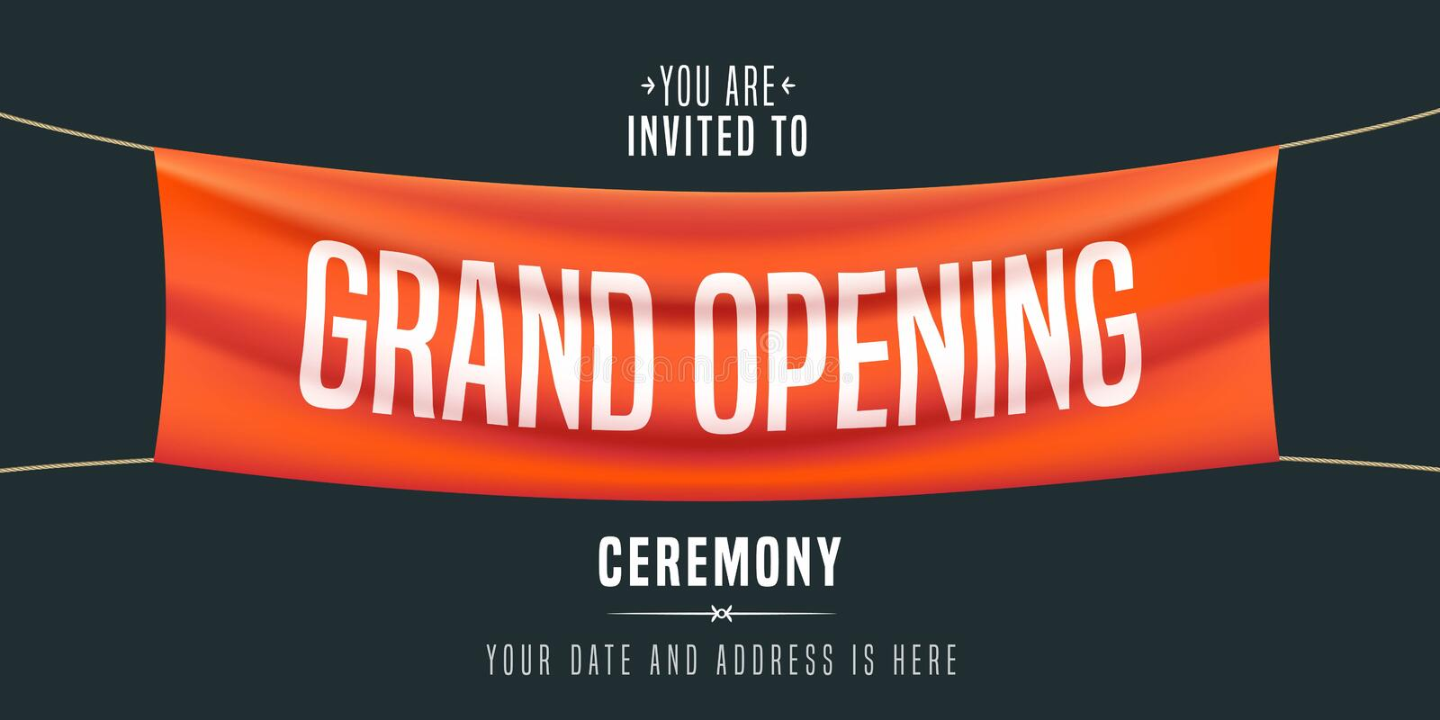 Grand opening vector illustration, background. Invitation card. Template banner, invite for red ribbon cutting ceremony vector illustration