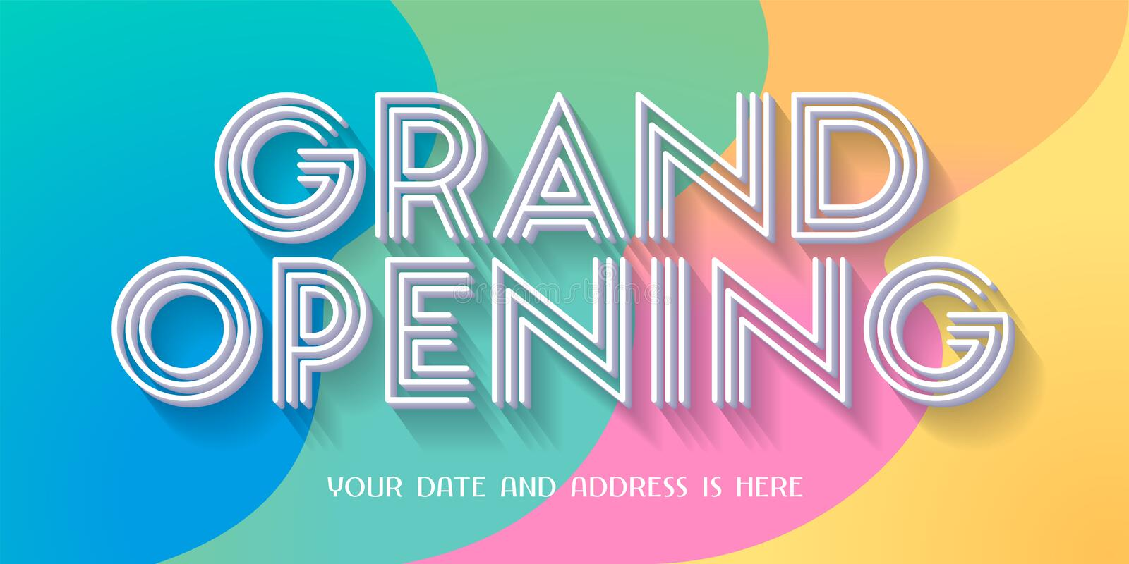 Grand opening vector illustration, banner. Grand opening vector illustration, background with retro style colors design. Template banner for opening event vector illustration