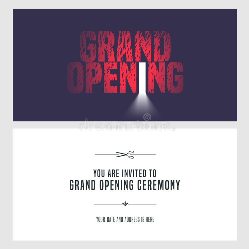 Grand opening vector illustration, invitation. Card for new store. Template banner, design element for opening ceremony, red ribbon cutting event royalty free illustration