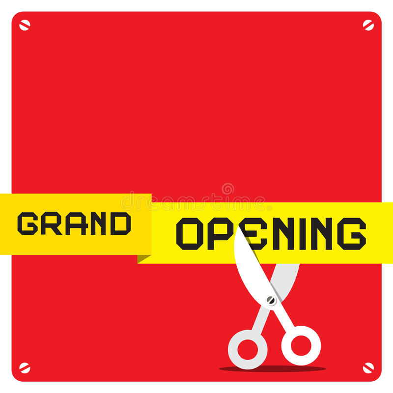 Grand Opening. Vector Red Square with Rounded Corners and Scissors Cutting Yellow Tape vector illustration