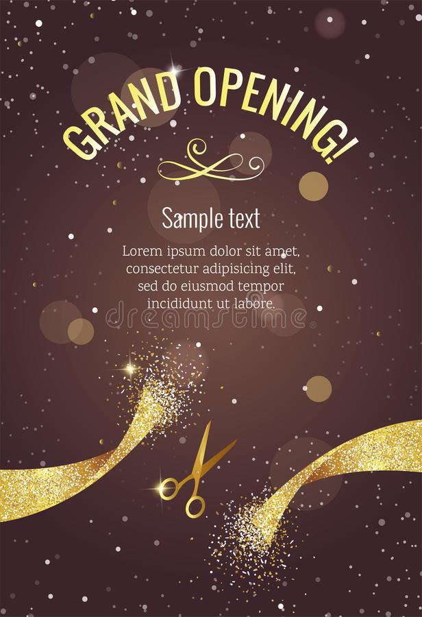 Grand opening vertical banner with gold sparkles. vector illustration