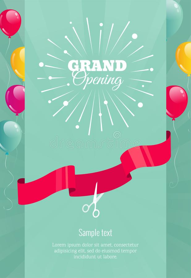 Grand opening vertical banner with firework, balloons and ribbo vector illustration