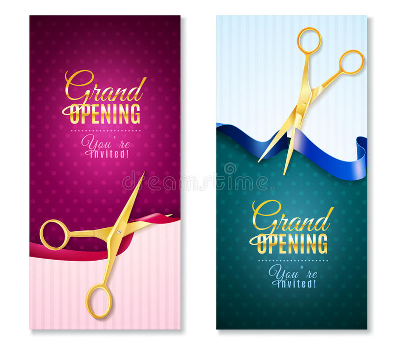 Grand Opening Vertical Banners Set vector illustration