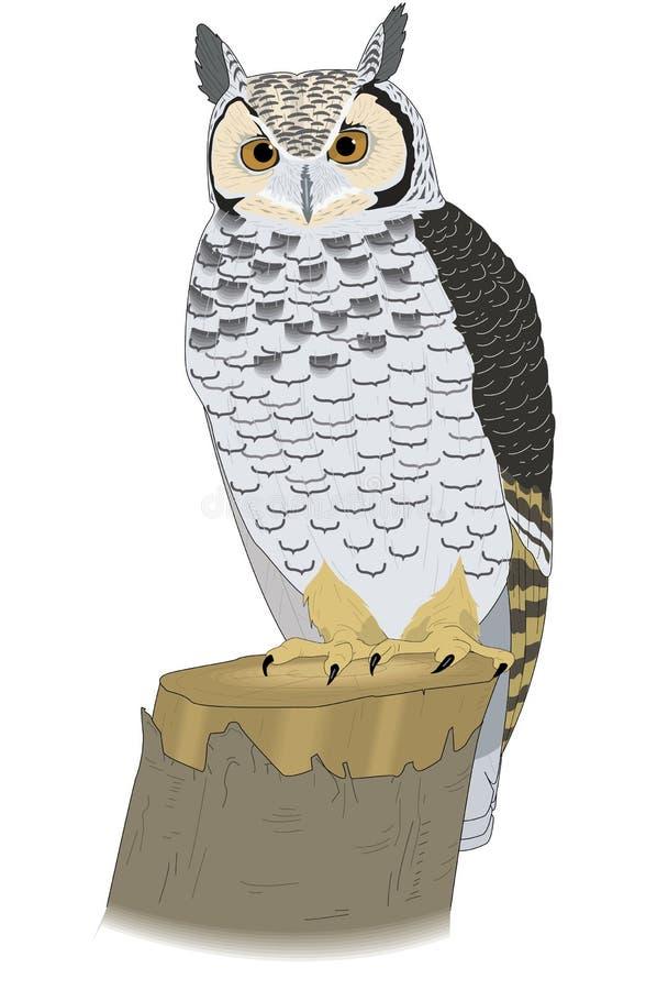 Grand Owl Perched à cornes sur une illustration de tronçon illustration de vecteur