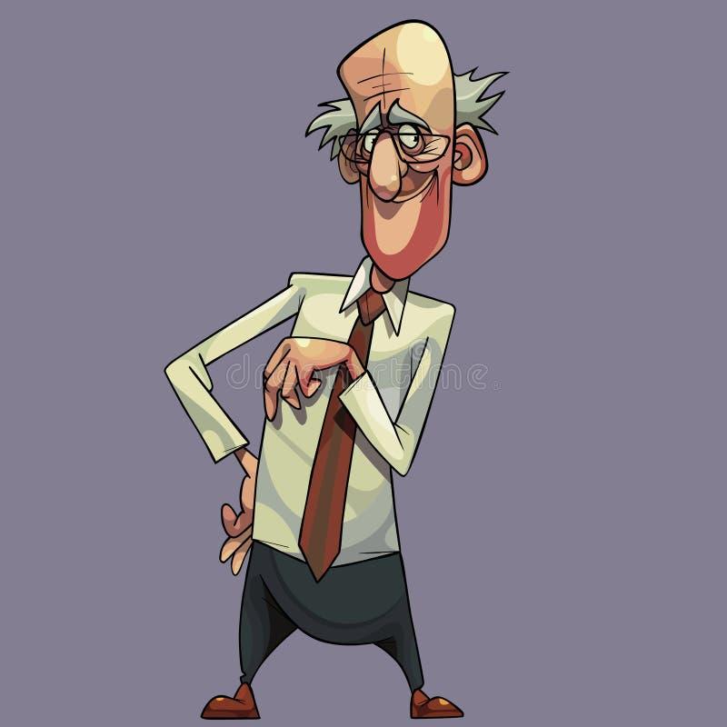 Grand-père aimable de bande dessinée avec des verres habillés dans la chemise et le lien illustration stock