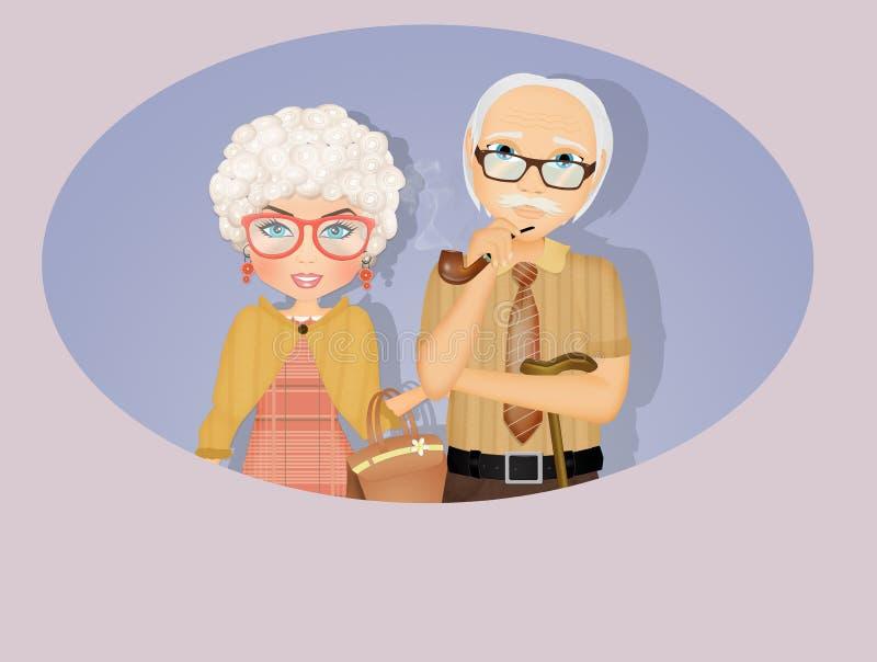 Grand-père d'ADN de grand-mère illustration stock