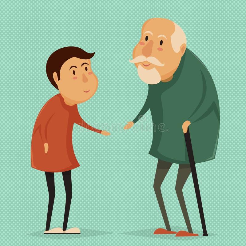 Grand-père et enfant Affiche heureuse de jour de grands-parents illustration de vecteur