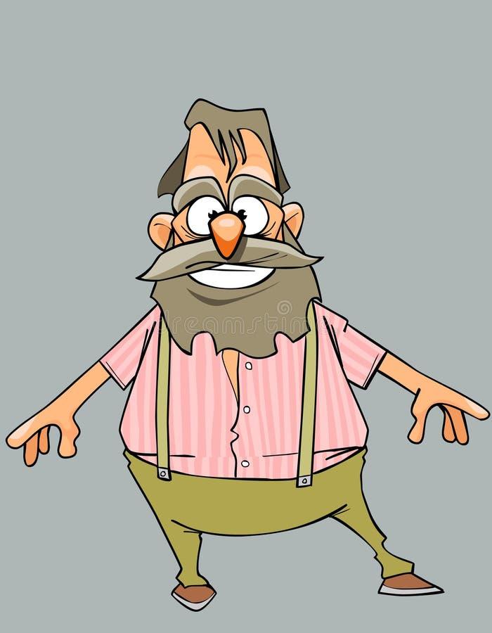 Grand-père gai de bande dessinée avec une barbe et une moustache illustration libre de droits
