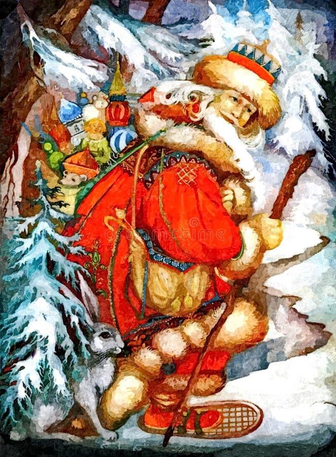 Grand-père Joulupukki-finlandais de Noël, qui donne des cadeaux aux enfants à Noël Aquarelle humide de peinture sur le papier illustration stock