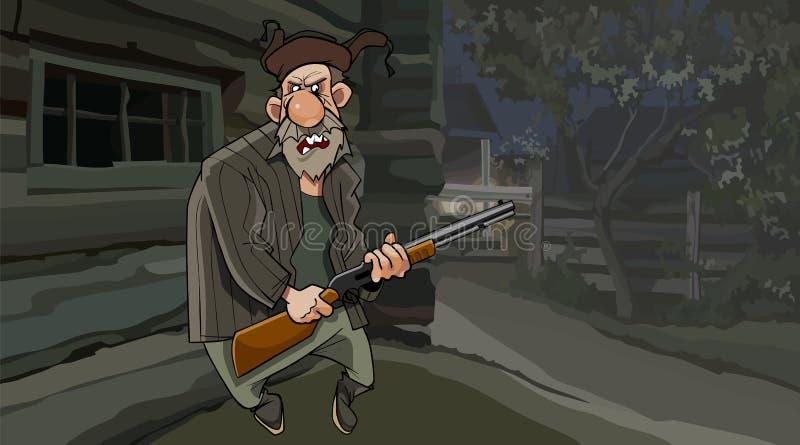 Grand-père mauvais de bande dessinée avec une arme à feu la nuit dans le village illustration stock