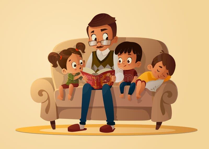 Grand-père s'asseyant avec des petits-enfants sur un sofa confortable avec le livre, lecture et racontant à livre l'histoire de c illustration de vecteur
