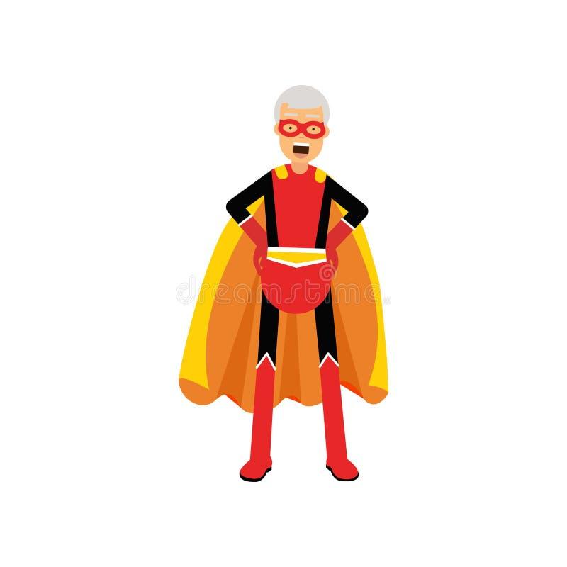 Grand-père superbe, super héros d'homme supérieur portant le cap orange se tenant avec des mains sur l'illustration de vecteur de illustration de vecteur