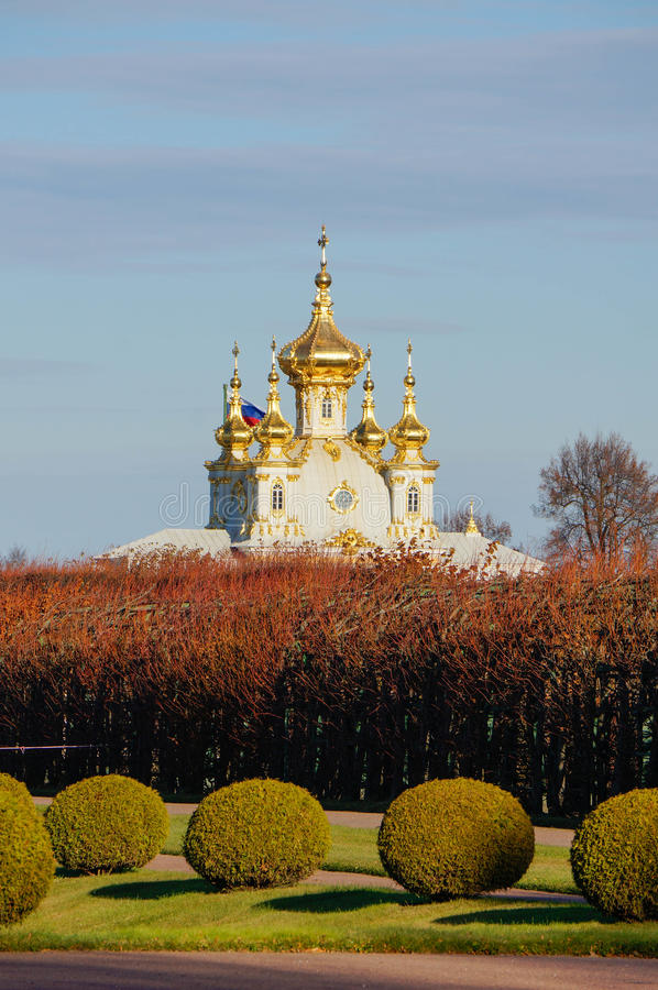 Grand Palace Church. The Summer Palace in autumn. Peterhof. Russia. The Summer Palace. Peterhof in autumn. Saint Petersburg Surrounds. Russia royalty free stock image