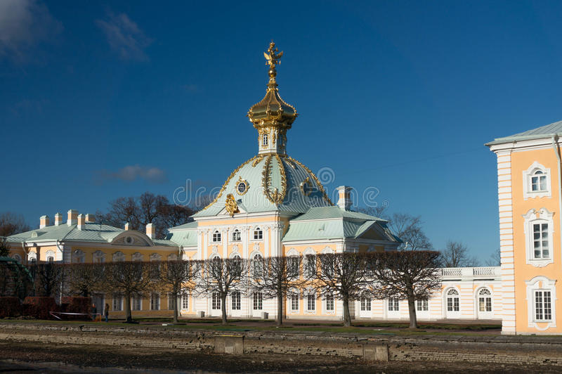 Grand Palace Church. The Summer Palace in autumn. Peterhof. Russia. The Summer Palace. Peterhof in autumn. Saint Petersburg Surrounds. Russia royalty free stock images