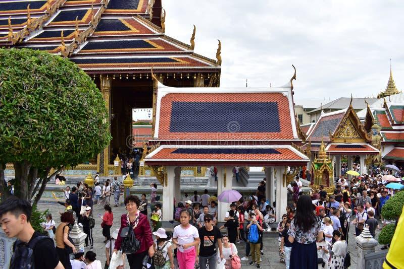 Mass Tourists at Grand palace in Bangkok Thailand stock photo